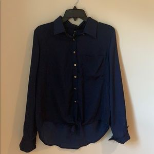 Button down top with a tie waist